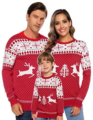 Aibrou Familie Festliche Gestrickte Pullover Weihnachtspullover Rundhals Sweater Strickpullover Rot-Kinder 130 (empfolen: 8-9 Jahre Alt)