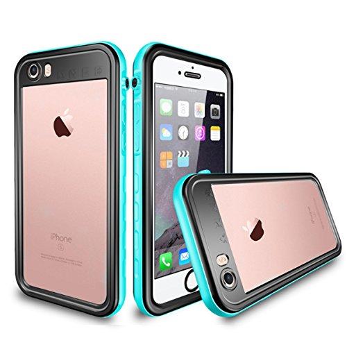 iPhone SE ケース 第2世代 2020 ハード ポリカーボネート 耐衝撃 落下保護 米軍MIL規格 完全防水 防塵 IP68認証取得 ストラップホール付き 液晶保護フィルム一体型 クリア 透明 軽量 薄型 ブランド 正規品 (ブルー)