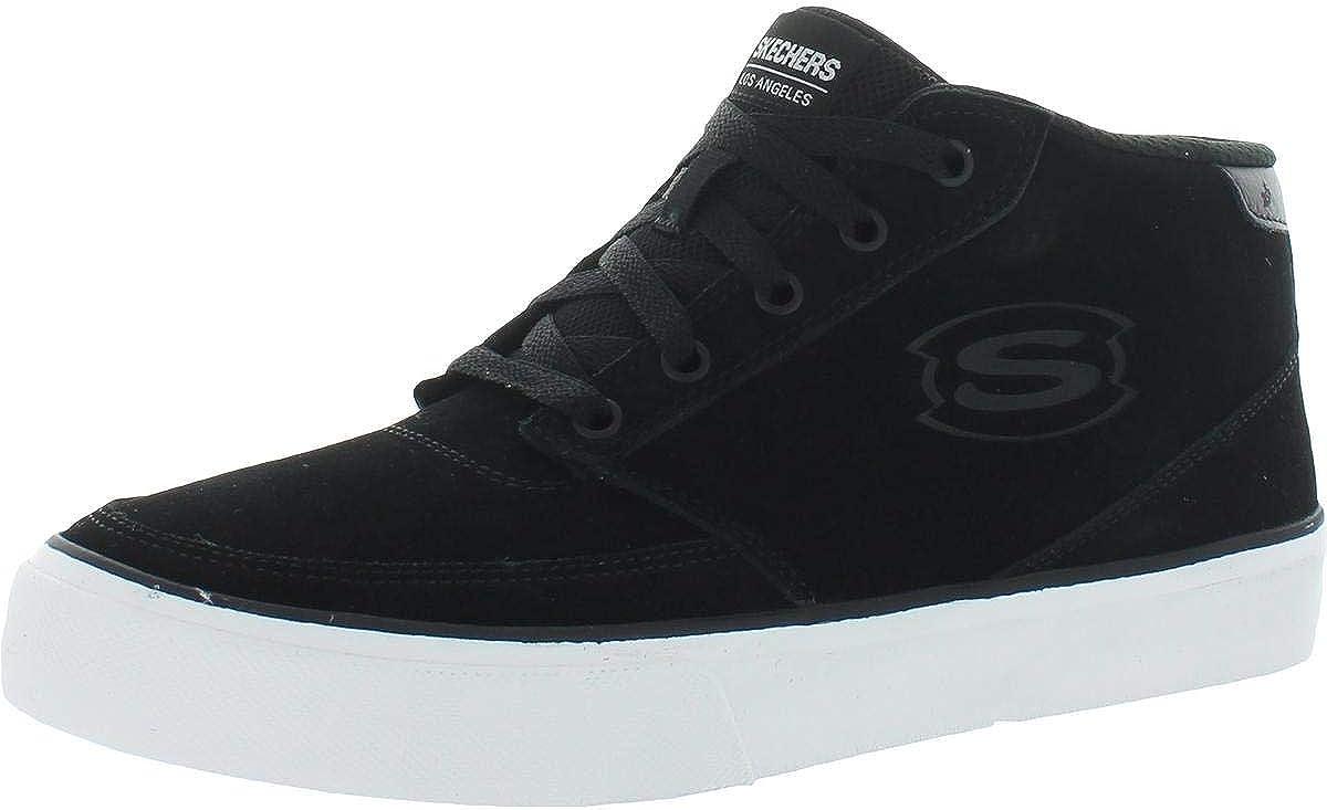 Skechers Mens Linmoore Suede Memory Foam High Top Sneakers Black/White