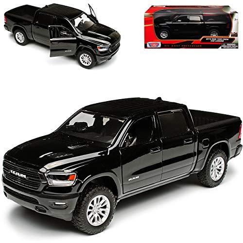 Motormax Dodge Ram 1500 Pick-Up Doppelkabine Schwarz 5. Generation Ab 2019 1/24 Modell Auto mit individiuellem Wunschkennzeichen