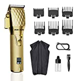 Fade King all metal quiet motor Hair Clippers for Men Professional Cordless Clippers for Hair Cutting Beard Trimmer Barbers Grooming Kit Rechargeable, LED Display