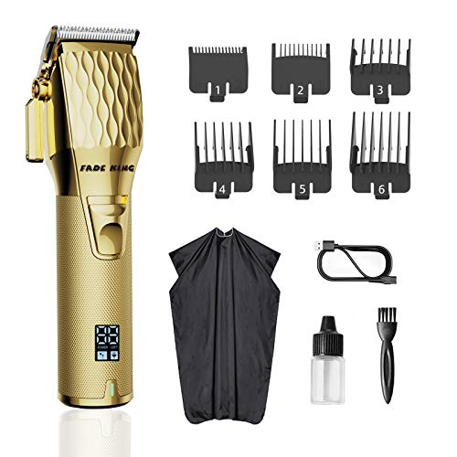 FADEKING Hair Clippers for Men Professional Cordless Clippers for Hair Cutting Beard Trimmer Barbers Grooming Kit Rechargeable, LED Display (GOLD)…