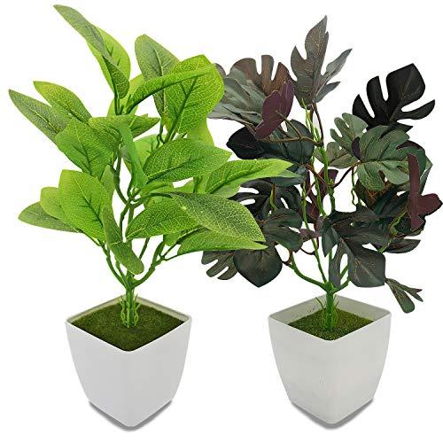 YOLETO Lot de 2 Plantes Artificielles Décoration Dintérieur, Plantes en Plastique à Feuilles Vertes en Pots, Petite Fausses Plantes Pour la Maison, Bureau et La Chambre