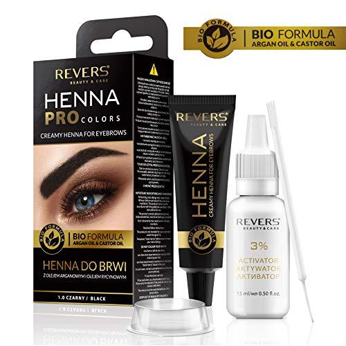 REVERS Henné crémeux pour les sourcils HENNA PRO COLORS à l'huile d'argan et à l'huile de ricin 30ml (1.0 NOIRE)