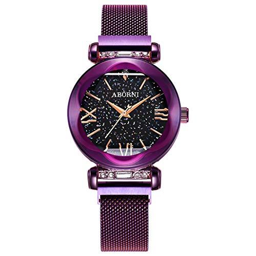 Rventric Star Sky Quartz Watch Lady, Correas De Malla Magnética A Prueba De Agua para El Día De San Valentín/Día De La Madre/Ceremonia De Graduación,Purple