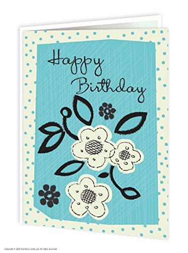 Mooie blauwe bloempot 'Happy Birthday' wenskaart