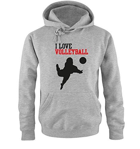 Comedy Shirts I Love Volleyball - Herren Hoodie - Grau / Schwarz-Rot Gr. XXL