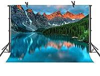 HiYash 5x3ft 屋外風景山の森湖写真背景写真小道具美しい自然風景背景部屋の装飾小道具子供の誕生日パーティー写真スタジオ小道具ビニール素材
