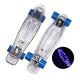 LGLE Cruiser Skateboard, monopatín retro transparente de 22 pulgadas con ruedas de luz LED para niños, principiantes y niñas, A
