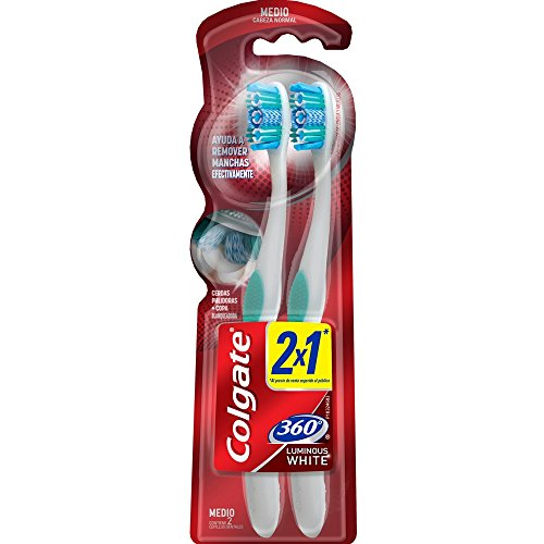 Colgate 360 Luminous Cepillo Dental 2 x 1, Cerda Media Varios Colores
