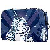 Neceser de viaje grande para mujer, neceser de viaje y neceser de maquillaje con muchos bolsillos, lindo unicornio saxofón musical