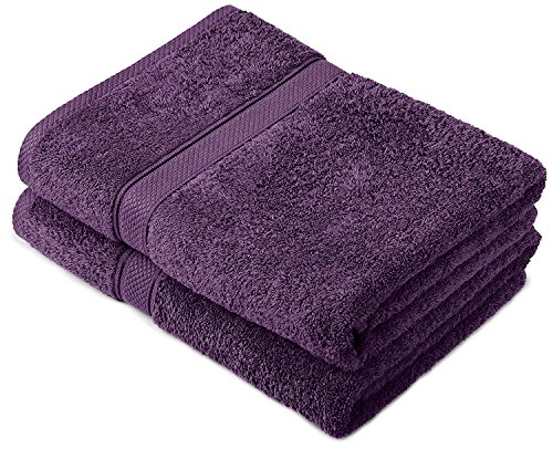 Buoqua - Set di asciugamani in cotone prugna, 2 asciugamani da bagno, 600 g/m²