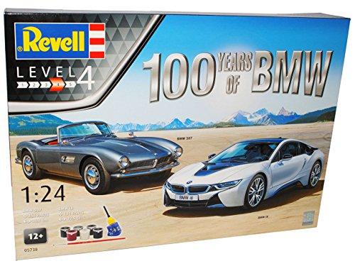Sparset B-M-W I8 und B-M-W 507 inkl Zubehör 05738 - Geschenkset 100 Jahre B-M-W - Bausatz Kit 1/24 Revell Modell Auto mit individiuellem Wunschkennzeichen