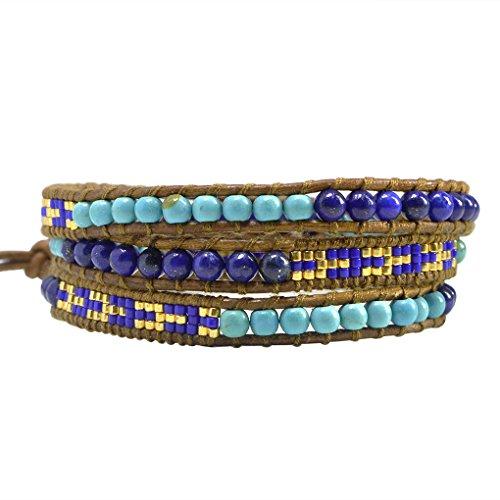 KELITCH Synthetisch Türkis Lapis Perlen 3 Wicklen Armband Handmade Neu Armreifen Sommer Armreifen (Blau)