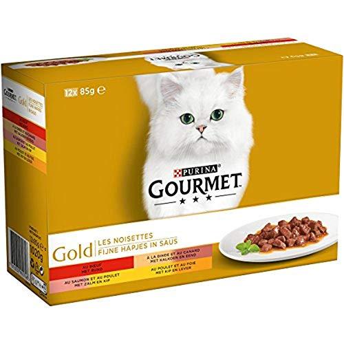 GOURMET - Les Noisettes : Bœuf, Poulet-Foie, Dinde-Canard, Saumon-Poulet - 12x85g - Lot de 8