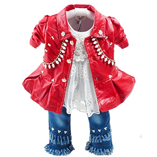 Primavera otoño Conjunto de Ropa para niñas bebés 3 Piezas Camiseta de Manga Larga Chaqueta de Cuero y Jeans (1-2a, Rojo)