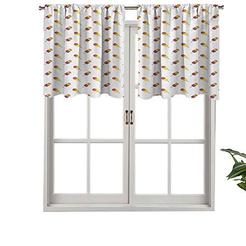 Hiiiman Cenefa de cortina corta con bolsillo para barra, colores veraniegos, aperitivos en palos, sabor refrescante, juego de 2, 42 x 24 pulgadas para baño y cocina