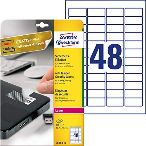 AVERY Zweckform L6113-20 Sicherheitsetiketten (45,7x21,2 mm auf DIN A4, stark selbstklebend, mit Schachbrett-Muster, bedruckbare und manipulationssichere Klebefolie) 960 Aufkleber auf 20 Blatt weiß