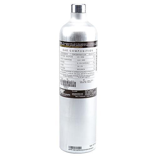 BW Technologies CG-Q34-4 Quad Calibration Gas Aluminum Cylinder, 2.5 Percent CH4, 18.0 Percent O2, 25 ppm H2S, 100 ppm CO, N2 Balance, 34L Capacity