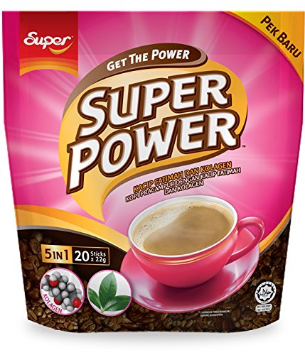 Malaysia Brand/Super Power 5 In 1 Premium Instant Coffee/With Herbal Extract of Kacip Fatimah & Collagen/Delicious Health Boost For Ladies/A Shot Of Collagen In Your Morning Coffee/20s x 22g