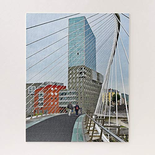 Wooden Jigsaw Puzzle 500 Piece for Adults, Bilbao. Zubizuri or TheCampo Volantin Bridge Jigsaw Puzzle ame Toys ift Jigsaw Puzzle