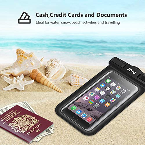 JOTO Universal Waterproof Pouch Phone Dry Bag Underwater Case for iPhone 11 Pro Max XS Max XR X 8 7 6S Plus SE 2020 Galaxy Pixel up to 6.9', Waterproof Case for Pool Beach Swimming Kayak Travel -Black