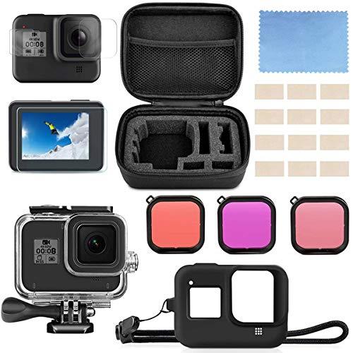 micros2u Accessory Kit compatibel met GoPro Hero 8 Zwart. Bundel bevat waterdichte behuizing + gehard glas schermbeschermer + draagtas + siliconen hoes + duikfilters + anti-mist invoegen