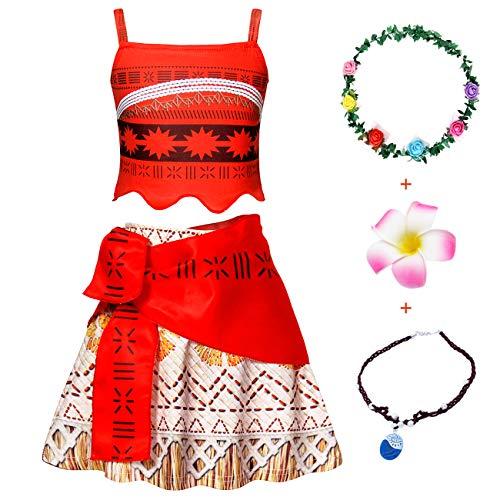 AmzBarley Moana Vaiana Disfraz Costume Niña Bebe, Princesa Disfraz Vestido Niña Traje Adventure Infantil para Carnaval Halloween Cosplay