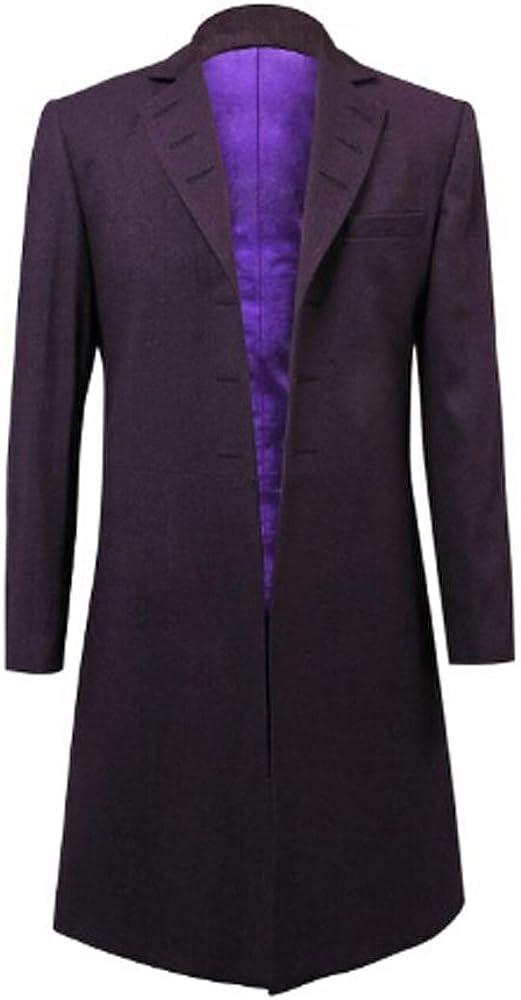 Purple Wool Frock Coat Halloween Costume M for Jacket Award Long Daily free