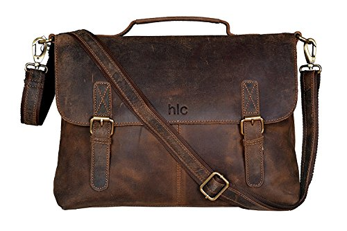 HLC 16 Inch Retro Buffalo Hunter Leather Laptop Messenger Bag Office Briefcase Travel bag