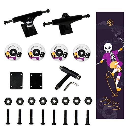 FREEDARE Skateboard Wheels with Bearings 52mm, Skateboard Trucks, Skateboard Grip Tape, Skateboard Tool, Skateboard Riser Pads, Skateboard Hardware Set (JP-Purple&Black Trucks)