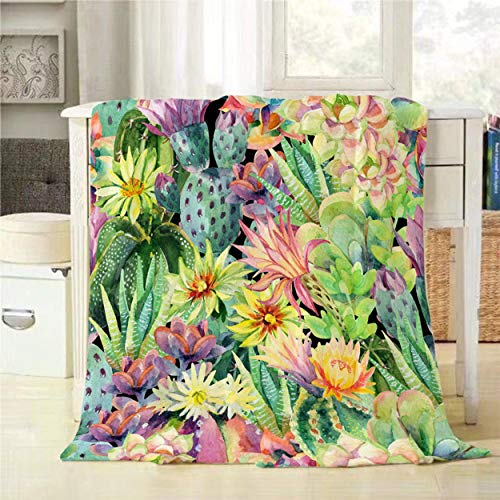 Mugod Cactus Throw Blanket Watercolor Blooming Cactus and Succulent Plants with Flowers Seamless Pattern Decorative Soft Warm Cozy Flannel Plush Throws Blankets for Bedding Sofa Couch 50 X 60 Inch