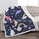Jekeno Narwhal Sherpa Blanket Soft Lightweight Durable Cozy Bed Couch Cartoon Throw Blanket Boys Girls Children Gift 50'x60'