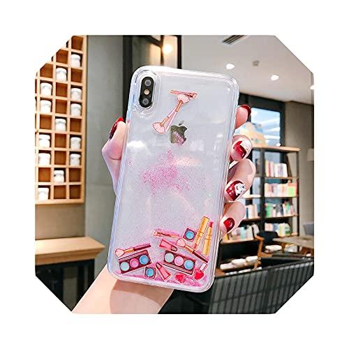 Lujosa caja de sombra de ojos Dynamic Liquid Capa Coque Phone Case para iPhone 7 8 P XS Max XR Cosméticos Maquillaje Quicksand Cover Case Rosa - Para iPhone XS