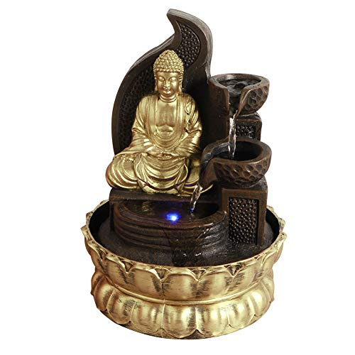 Weiyiroty Buddha Brunnen Innenwasserbrunnen mit LED Beleuchtung Zimmerbrunnen Springbrunn Wasserfall Tischbrunnen Zen Meditation für Office, Zuhause, Schlafzimmer Schreibtisch Dekoration(3)