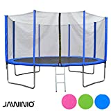 Jawinio Trampolin 425 cm (14F) Gartentrampolin Jumper Komplett-Set inkl. Leiter, Sicherheitsnetz und Sprungmatte Grün, Blau Oder Pink (Blau)