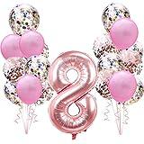 Geburtstagsdeko Rose Gold für 8.Mädchen Set: Riesen Roségold Helium Folienballons Zahl 8 (Zahlen 100cm)& Rosa Ballon & Konfetti Luftballons für 8 Jahre Kinder Junge Tochter Geburtstag Party Dekoration
