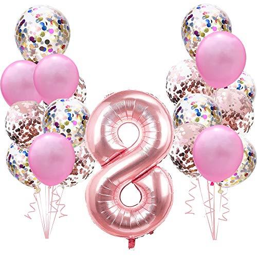Decoración de cumpleaños de Oro Rosa para la Segunda niña: 100cm números Globos Gigantes de Papel de Helio número 8,Globos de Confeti Rosados para 8 años Fiesta de cumpleaños para niño niñas