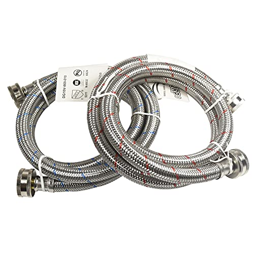HQRP Premium Stainless Steel Washing Machine Hoses, 4-FT Burst Proof, Red and Blue Striped, 3/4-inch FGH Connector, 4-Foot (2-pack)