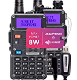 2PCs Baofeng Radios UV-5R MK5 8 Watt MP Max Power 2020 1800 mAh Li-ion Battery with Programming Cable Compatible for Baofeng Two Way Amateur Ham Radio Walkie Talkie, Mirkit Edition