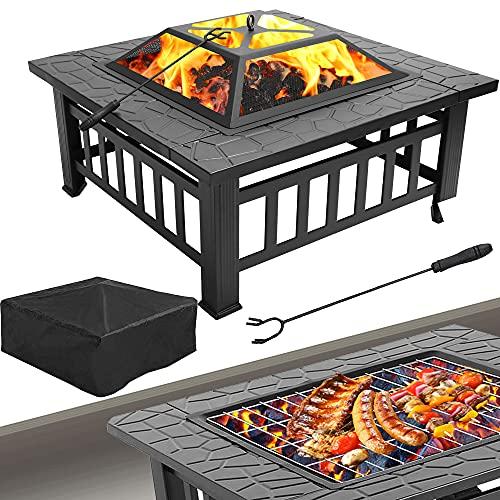 Thanaddo 3 in 1 Multifunktional Feuerstelle mit Grillrost & Grillzange Feuerschale für Garden Terrasse Heizung BBQ