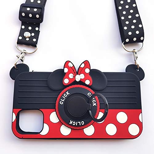 for iPhone 11 Case with Lanyard Ring 3D Cute Soft Silicone Cartoon Minnie Mouse Camera Design Phone Case Best Gift for Women/Girls/Kids (11 6.1in)
