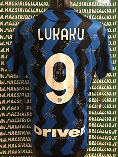 """MAESTRI DEL CALCIO Maglia Gara Home Serie A """"Lukaku 9"""" Autografata F.C. Inter 2020/2021 Firmata Firme Giocatori"""