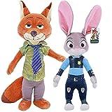 Yzhome 2 Pezzi di Peluche Zootropolis di Alta qualità Conigli Judy E Fox Nick Bambole per Bambini 40 Cm Giocattoli Farciti Bambole E Accessori Regalo Giocattoli per Bambini