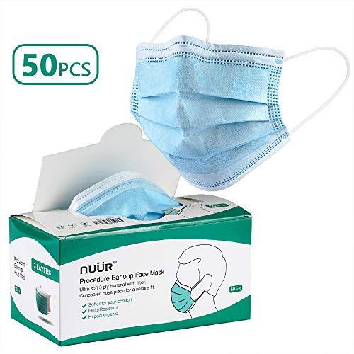 NUÜR Atemschutz Maske Einweg Schutzmaske Mund und Nasenschutz 3-Lagig (50 Stück* 1 Box), 0
