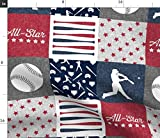 Spoonflower Fabric - Baseball, Red White Blue, Patchwork, Wholecloth, Cheater Quilt, Printed on Petal Signature Cotton Fabric by The Yard - Sewing Quilting Apparel Crafts Decor