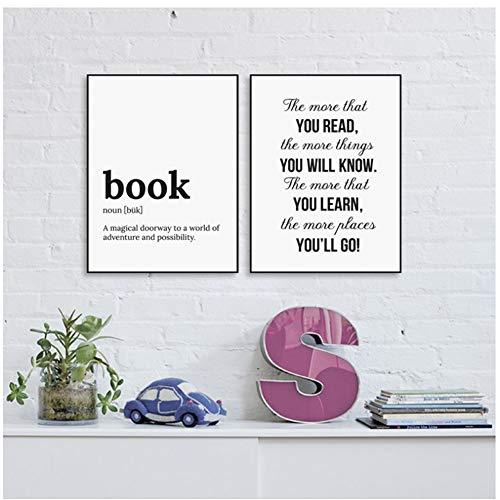 A&D Minimalistischer Buchtext Lernen Sie mehr über Leinwandmalerei Poster und Drucke Schlafzimmer Wandkunst Bilder Wohnzimmer Dekor -50x70cm Kein Rahmen