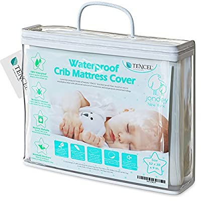 Organic Tencel Crib Mattress Protector Pad Waterproof Breathable Hypoallergenic Jacquard Fitted Soft Padded 52x28x9 inch for Baby Toddler Infant Bed Flannel White Cover Topper.