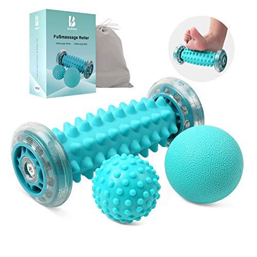 BOENFU Neueste Verbesserte Version Fußmassagegerät Fußmassage Roller [3er Set]-Muskel Roller & Bälle Set, Innovativer Fußmassageroller Fuß Igelball zur Linderung von Muskelkater