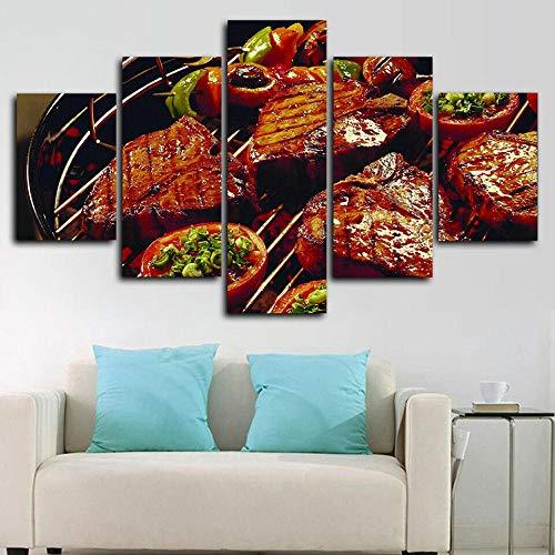 Axqisqx 5-delig canvas afdrukken van moderne modulaire woning cultuur landschap kunst poster afbeelding schilderij geschenk barbecue BBQ Grill restaurant 20x35cmx2pcs 20x45cmx2pcs 20x55cmx1pcs